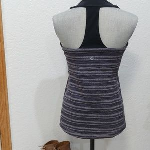 Lululemon scoop neck t back black/grey stripe tank